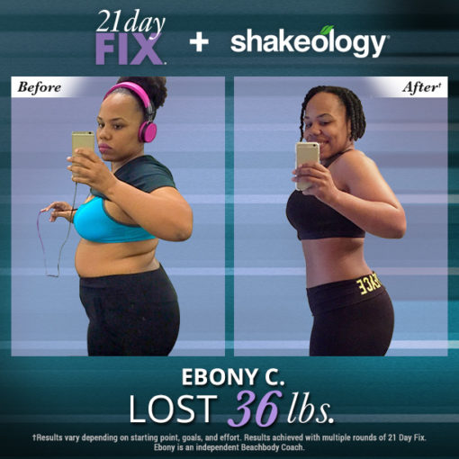 Ebony Lost 36 pounds with a Beachbody On Demand Challenge Pack