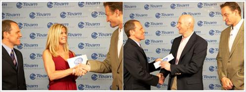 Beachbody CEO Carl Daikeler and President Jon Congdon award Kimberly and Earl $250,000.