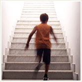 Teenager Running Up the Stairs