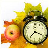 Alarm Clock, Apple, and Maple Leaves