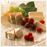 Cheese, Grapes, and Berries on a Plate