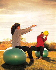 Medicine Ball Toss on Balance Ball