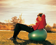 Supine Crunch on Balance Ball