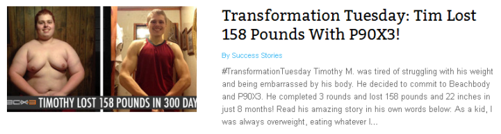 Tim Lost 158 Pounds with P90X3