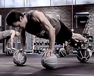 Tony Horton Medicine Ball Push Ups
